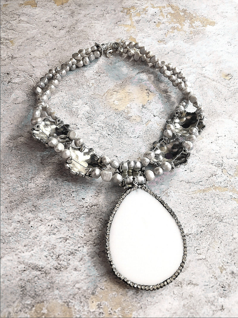 Gray Freshwater Pearl White Shell Pendant Statement Necklace