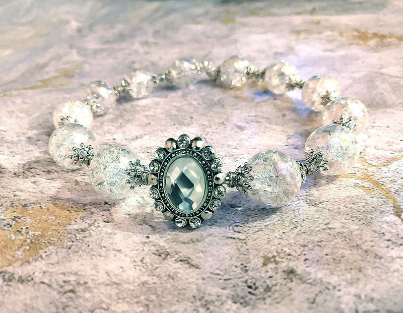 Crackle Glass Silver Crystal Choker Bridal Necklace