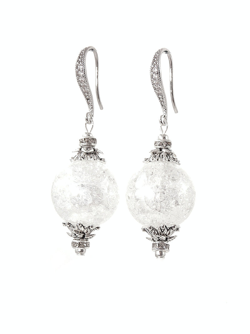 Crystal Crackle Ball Drop Silver Bridal Earrings