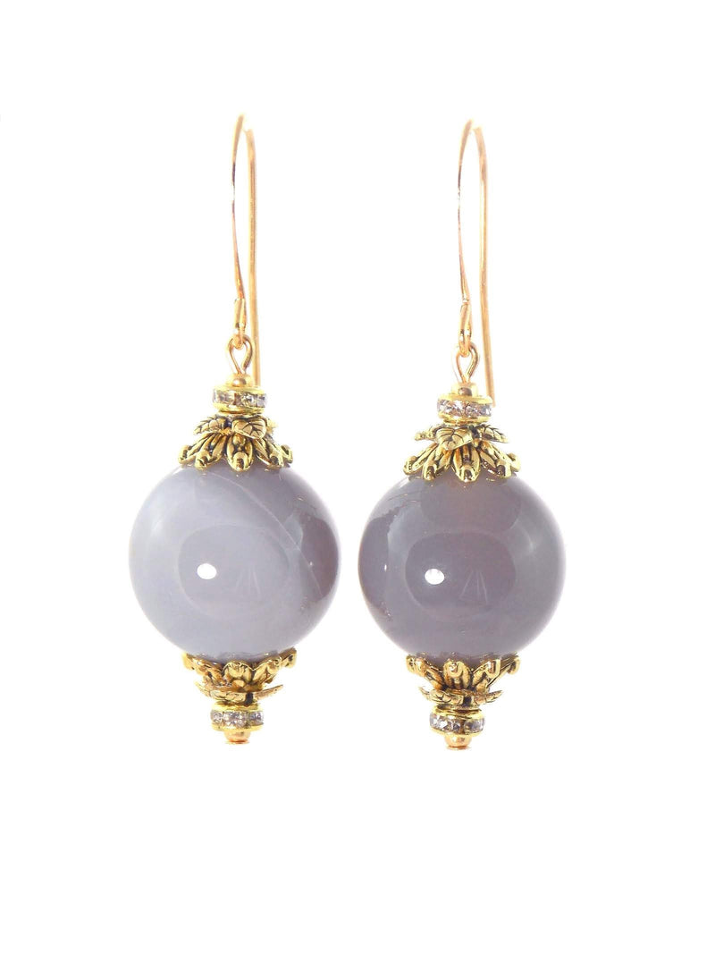 Gray Agate Ball Drop Short Gold Statement Earrings