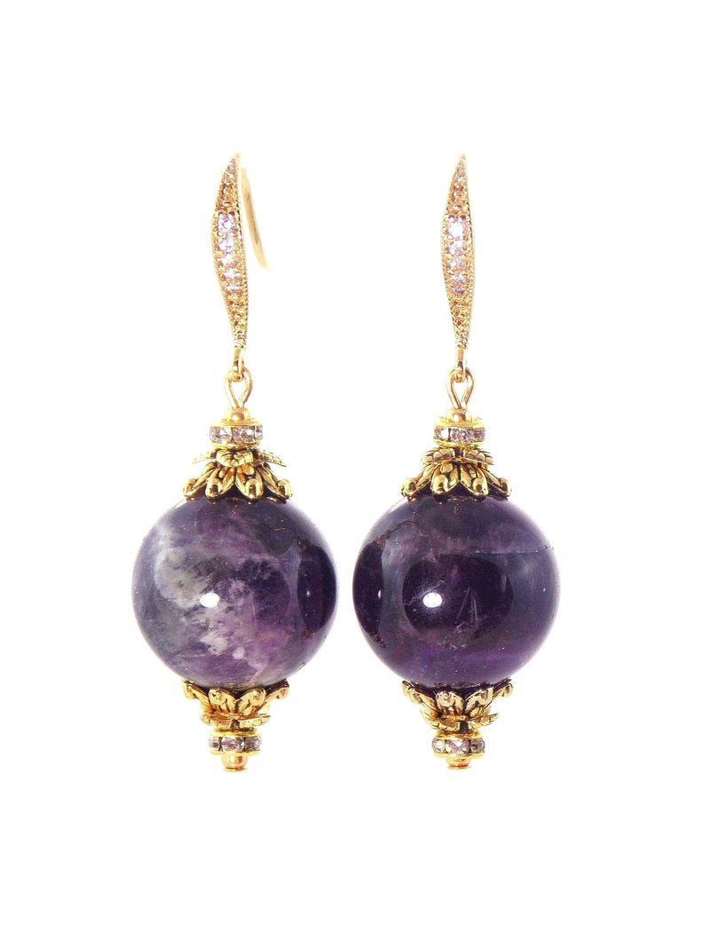 Amethyst Ball Drop Short Gold Statement Earrings by KMagnifiqueDesigns