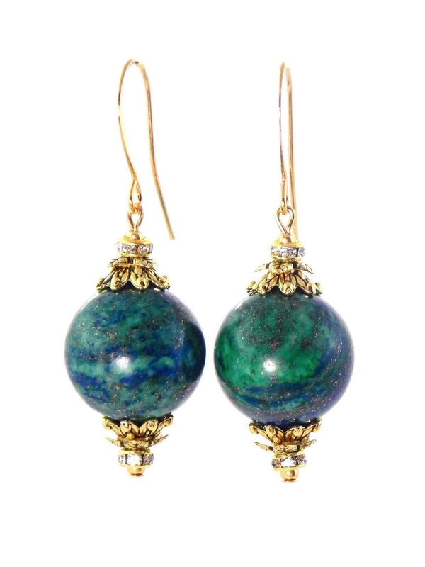 Green & Blue Azurite Ball Drop Short Gold Statement Earrings