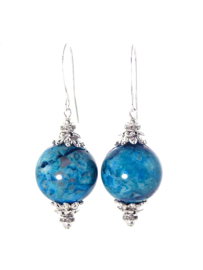 Larimar Blue Ball Drop Short Silver Statement Earrings