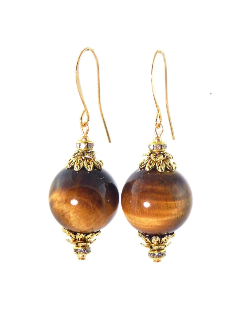 Tiger Eye Ball Drop Short Gold Statement Earrings