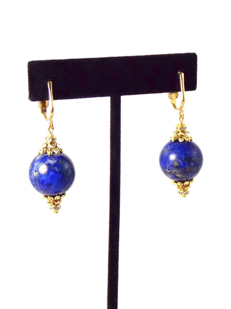 Blue Lapis Ball Drop Short Gold Statement Earrings