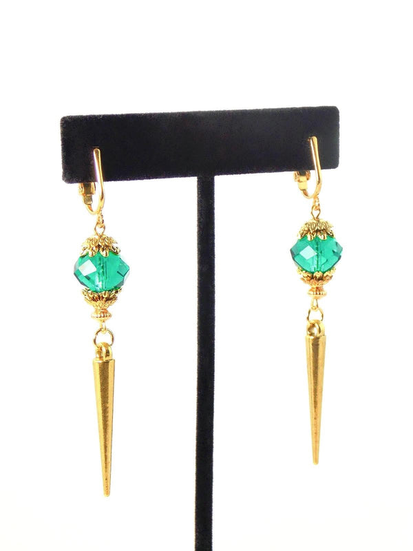 Green Emerald Glass Gold Spike Statement Earrings