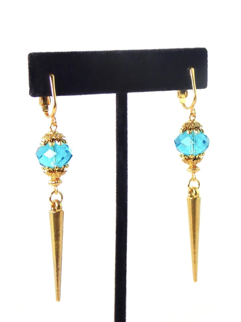 Sapphire Blue Crystal Glass Gold Spike Statement Earrings