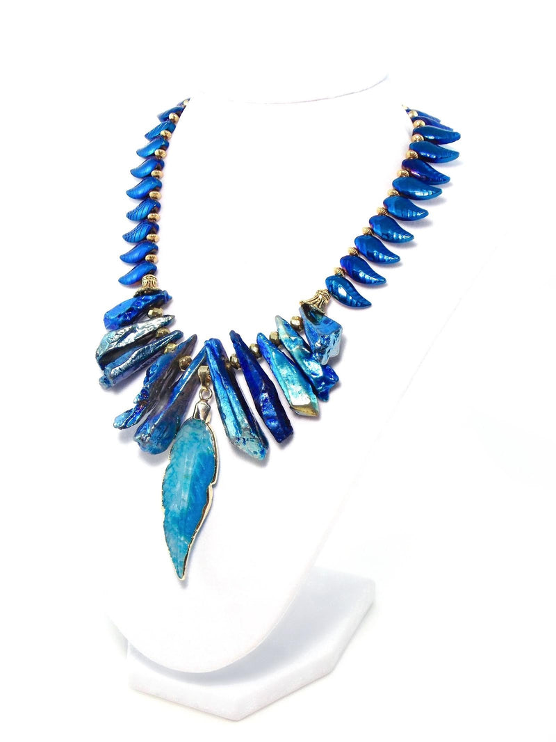 Blue Tribal Stone Gold Plated Feather Pendant Statement Necklace