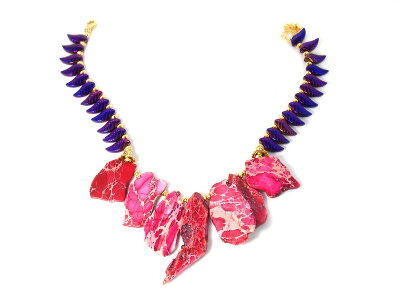 Imperial Pink Jasper Purple Iris Feather Leaf Bib Statement Necklace