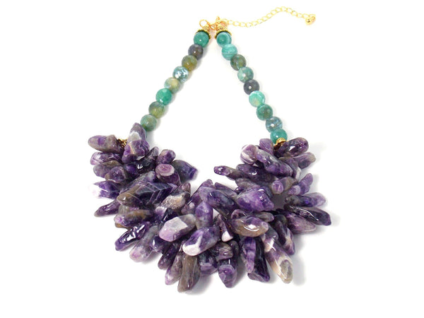 Chunky Amethyst & Green Agate Gold Bib Statement Necklace