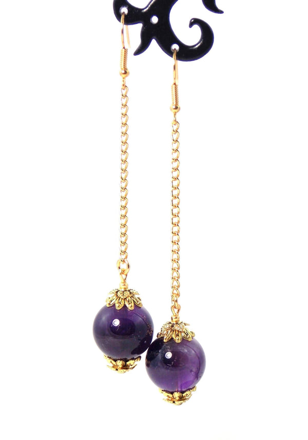 Amethyst Long Ball Drop Dangle Chain Statement Earrings by KMagnifiqueDesigns