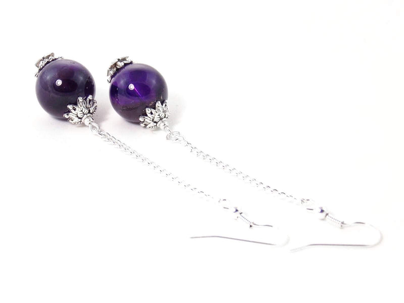 Amethyst Ball Drop Silver Chain Dangle Statement Earrings by KMagnifiqueDesigns
