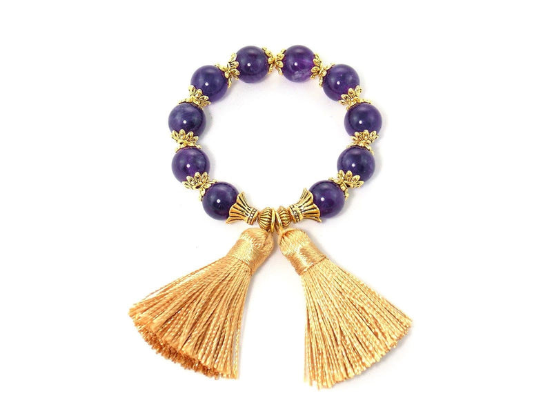 Amethyst Gold Tassel Statement Bracelet by KMagnifiqueDesigns