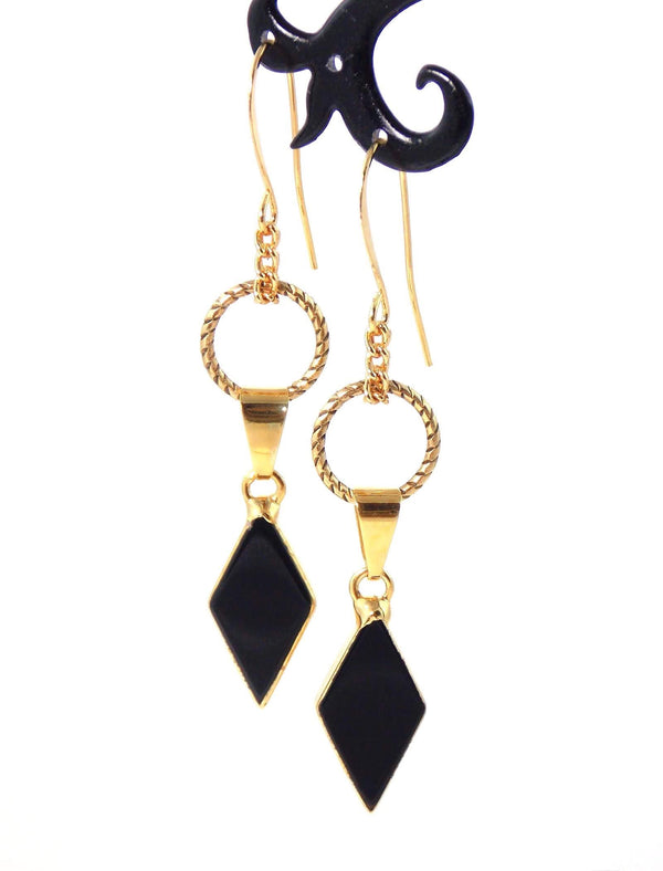 Black Agate Art Deco Charm Gold Plated Statement Earrings by KMagnifiqueDesigns