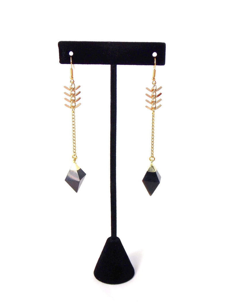 Black Agate Diamond Charm Long Gold Chain Statement Earrings by KMagnifiqueDesigns