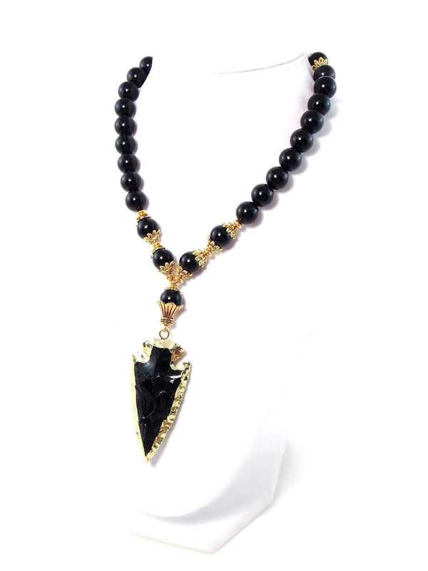 Onyx Obsidian Stone Black Arrow Gold Pendant Statement Necklace by KMagnifiqueDesigns