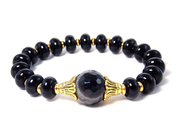 Black Faceted Agate & Onyx Stone Gold Plated Statement Bracelet by KMagnifiqueDesigns