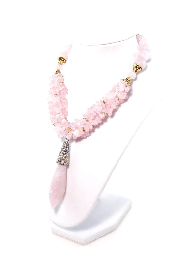 Pink Rose Quartz Chunky Crystal Pendant Statement Necklace by KMagnifiqueDesigns