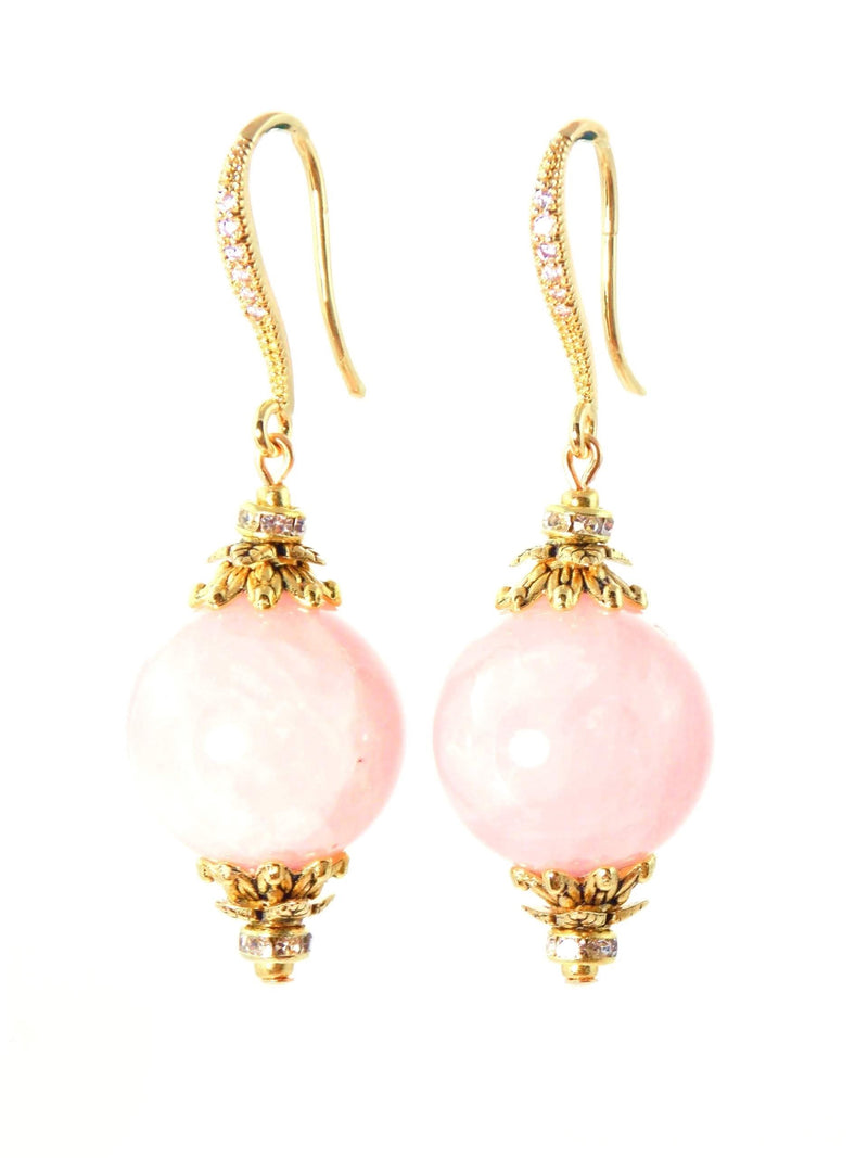 Pink Rose Quartz Ball Drop Short Gold Statement Earrings by KMagnifiqueDesigns