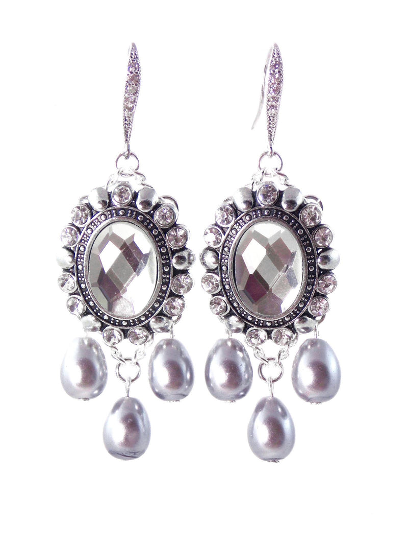 Silver Crystal Gray Pearl Bridal Statement Earrings by KMagnifiqueDesigns