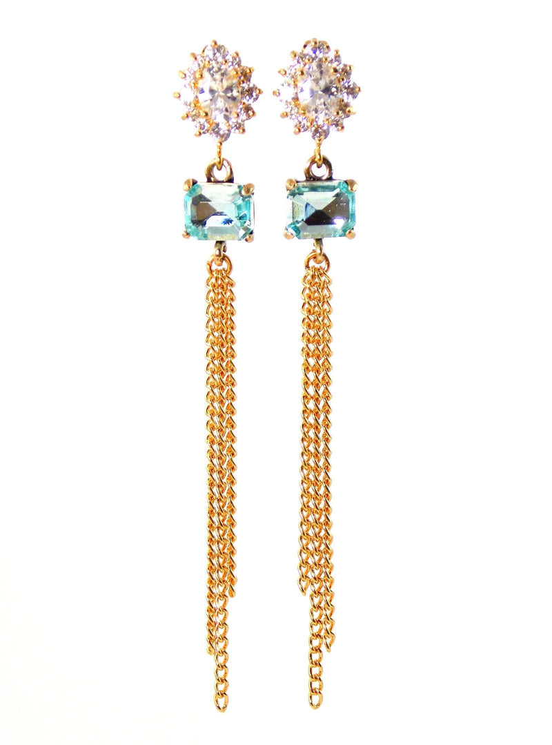 Light Blue Crystal And Cubic Zirconia Long Gold Statement Earrings by KMagnifiqueDesigns