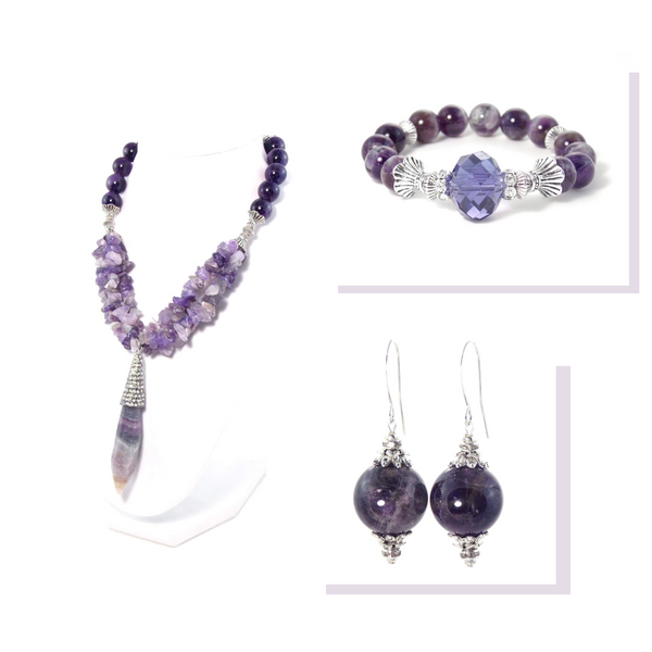 Amethyst Crystal Pendant Silver Statement Set