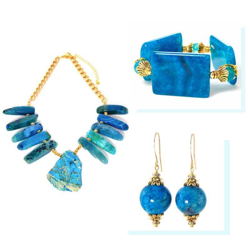 Blue Jasper Agate Gold Plated Statement Jewelry Set by KMagnifiqueDesigns