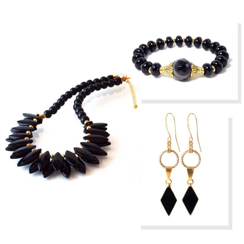 Black Agate And Onyx Stone Gold Plated Statement Jewelry Set by KMagnifiqueDesigns