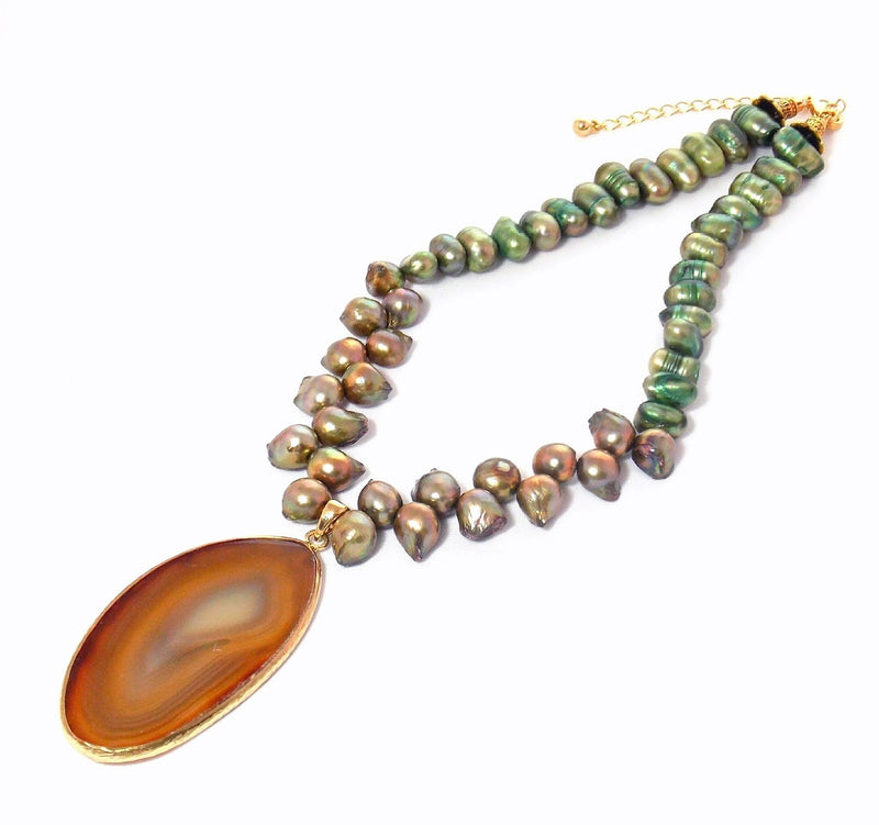 Green & Brown Freshwater Pearl Agate Pendant Bib Statement Necklace