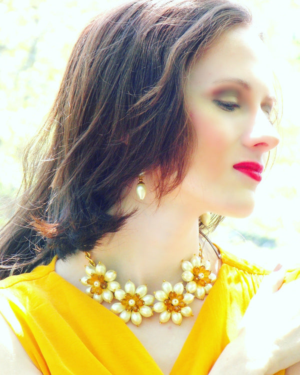 Flower Bib Ivory Glass Pearl Gold Plated Statement Necklace