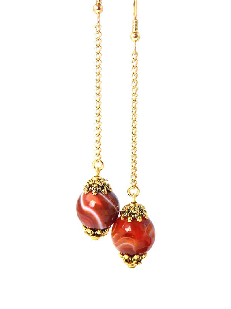 Semi Precious Orange Agate Ball Drop Gold Dangle Statement Earrings Clip On Optional