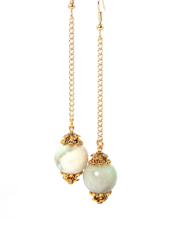 Semi Precious Amazonite Ball Drop Gold Dangle Statement Earrings Clip On Optional by KMagnifiqueDesigns