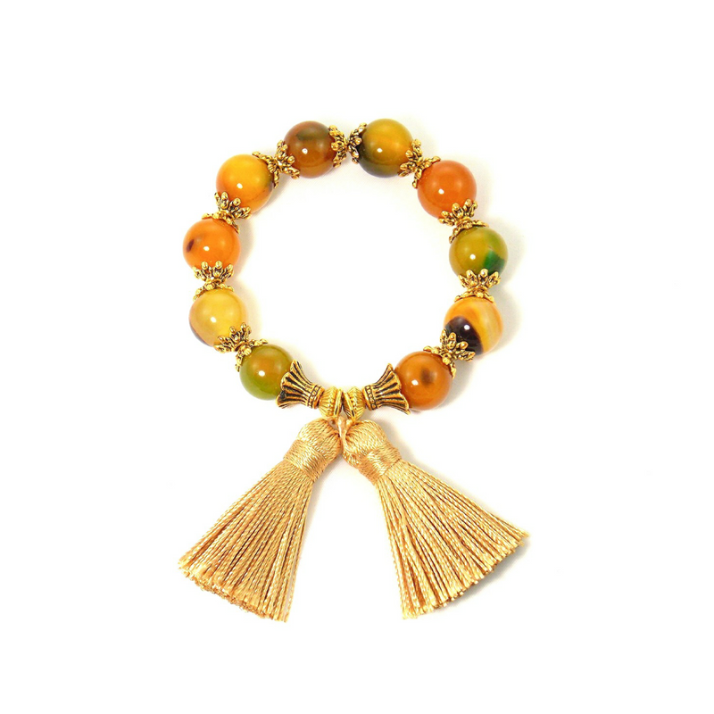 Yellow Agate Stone Gold Tassel Statement Bracelet