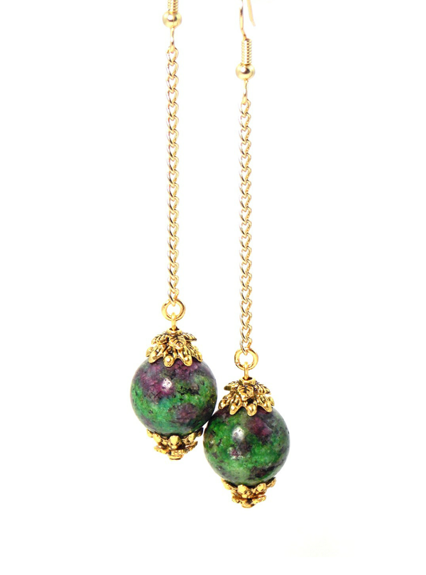 Semi Precious Green Ruby Zoisite Ball Drop Gold Dangle Statement Earrings Clip On Optional