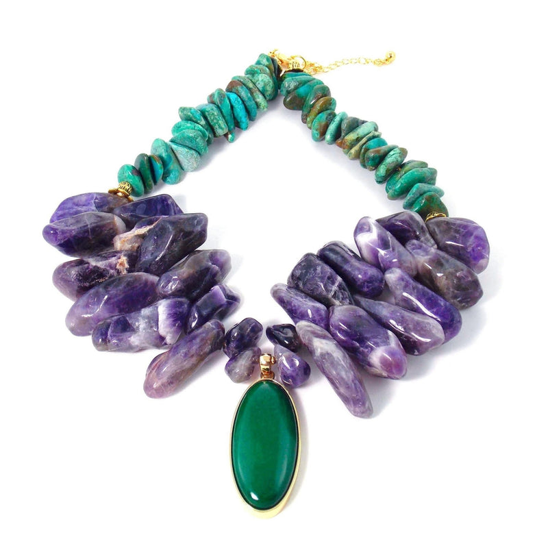 Chunky Amethyst & Green Turquoise Bib Statement Pendant Necklace by KMagnifiqueDesigns