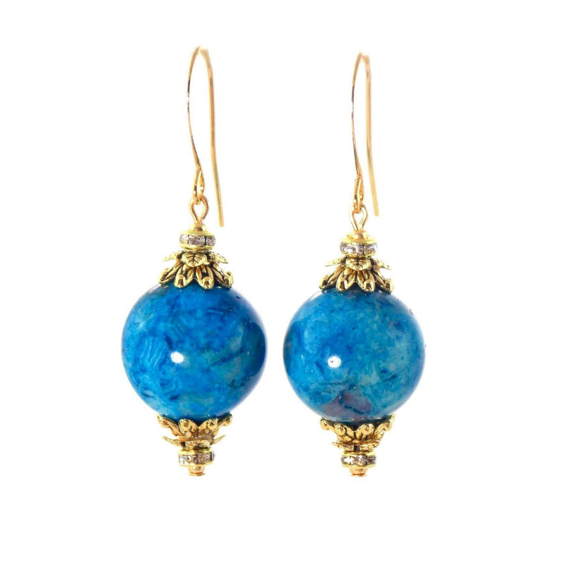 Larimar Blue Agate Ball Drop Short Gold Statement Earrings