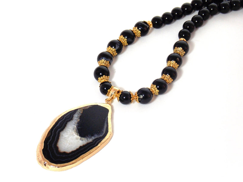 Black Slice Agate Pendant Gold Plated Statement Necklace by KMagnifiqueDesigns