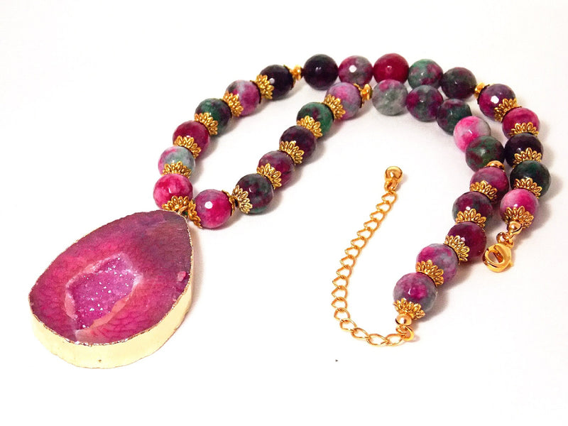 Purple Agate & Quartz Stone Gold Pendant Necklace