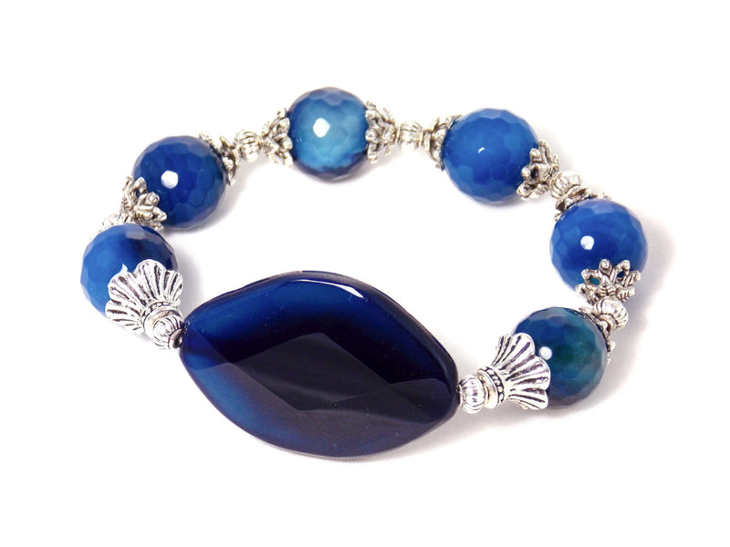 Blue Agate Silver Plated Gemstone Statement Bracelet
