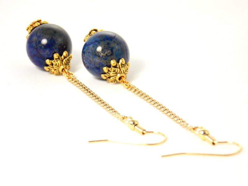 Lapis Lazuli Gold Chain Ball Drop Dangle Statement Earrings Clip On Optional