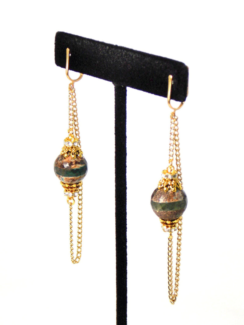 Semi Precious Brown & Green Agate Stone Long Gold Dangle Chain Statement Earrings Clip On Optional