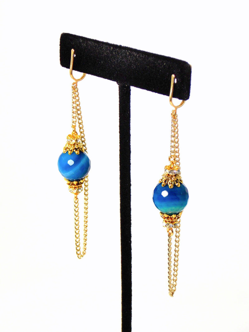 Cobalt Blue Agate Stone Long Gold Dangle Chain Statement Earrings Clip On Optional
