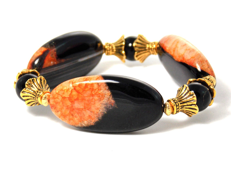 Black Orange Agate Gold Plated Statement Bracelet by KMagnifiqueDesigns