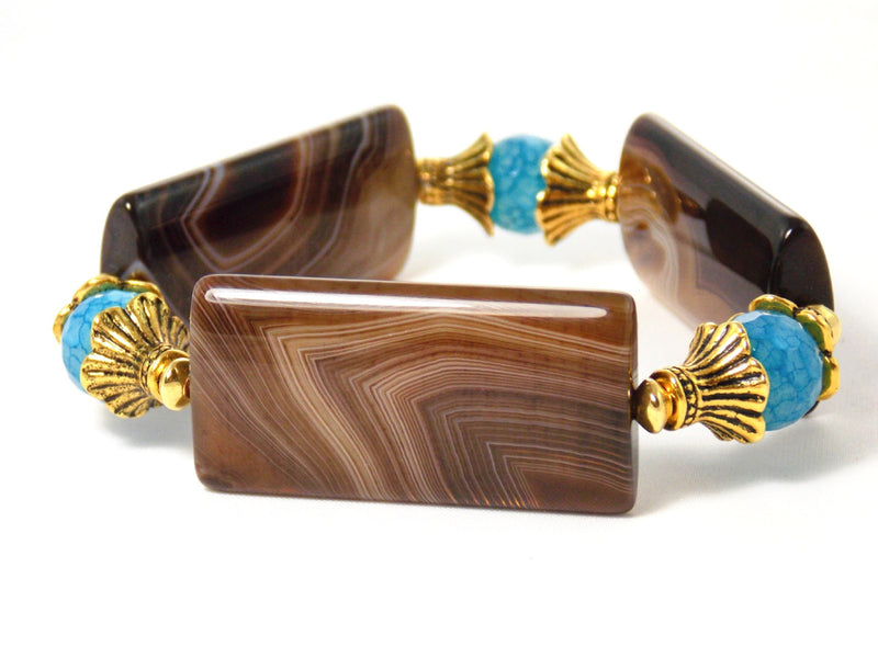 Brown & Blue Agate Stone Gold Plated Stretch Statement Bracelet
