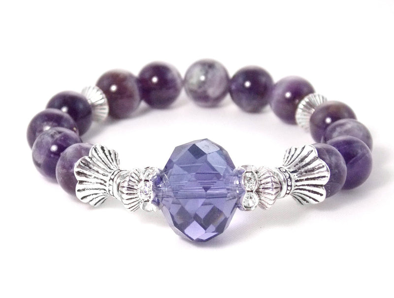 Amethyst Glass Faceted Silver Stone Bracelet