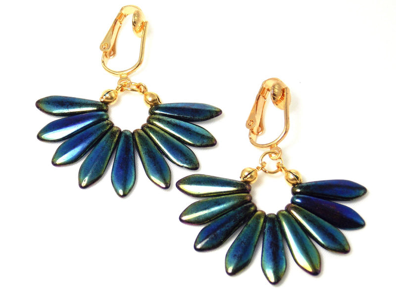 Blue Glass Dagger Gold Plated Fan Shape Statement Earrings Clip On Optional