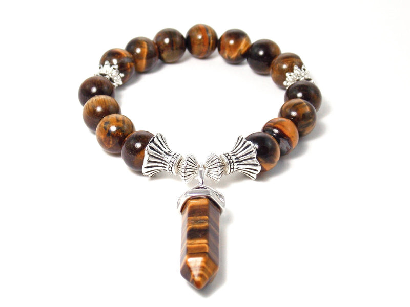 Tiger Eye Stone Silver Plated Beaded Stretch Pendant Bracelet