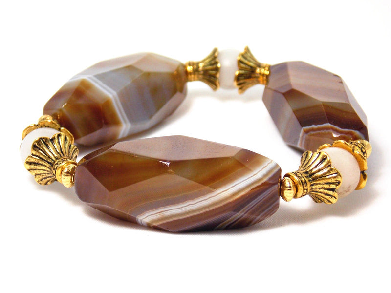 Chunky Brown Agate White Quartz Stone Gold Plated Stretch Statement Bracelet