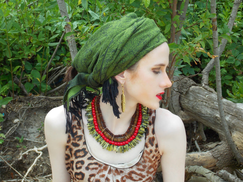 Green Jasper Red Coral African Statement Necklace