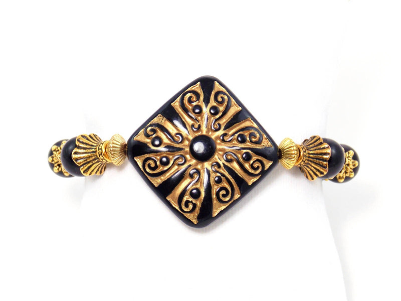 Black And Gold Beaded Agate Stone Stretch Statement Bracelet